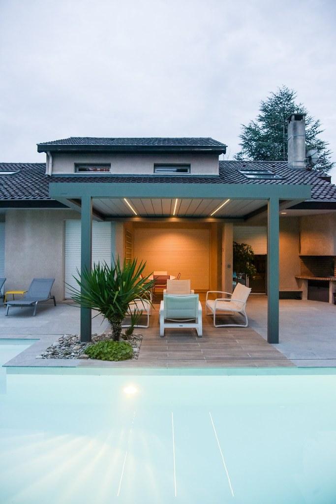 piscine, mur, terasse