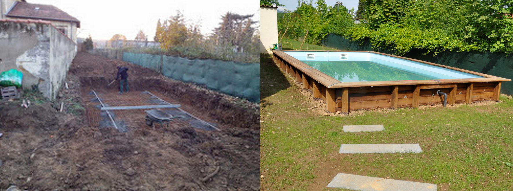 Nos r alisations avant apr s for Piscine demontable bois