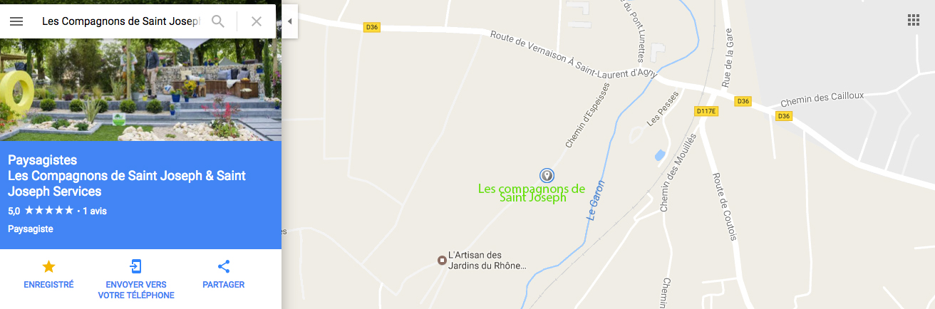 Google Maps Les Compagnons de Saint Joseph - Chemin d'espeisses Vourles