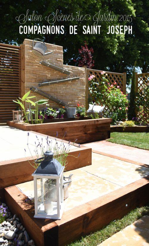 fontaine salon scène de jardin